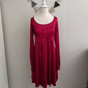 BCBGMAXAZRIA Red Midi Dress Large